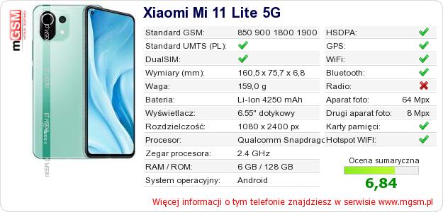 Dane telefonu Xiaomi Mi 11 Lite 5G