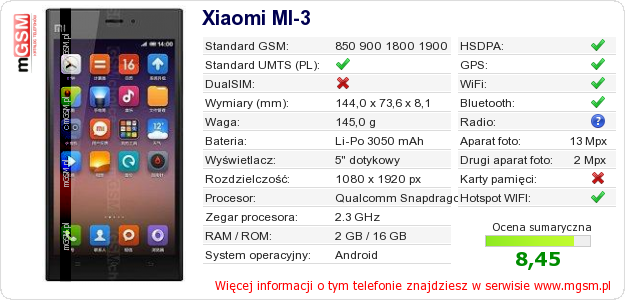 Dane telefonu Xiaomi MI-3
