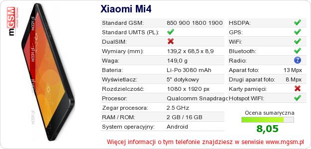 Dane telefonu Xiaomi Mi4