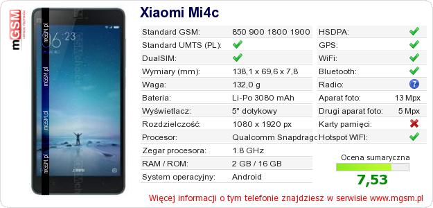 Dane telefonu Xiaomi Mi4c