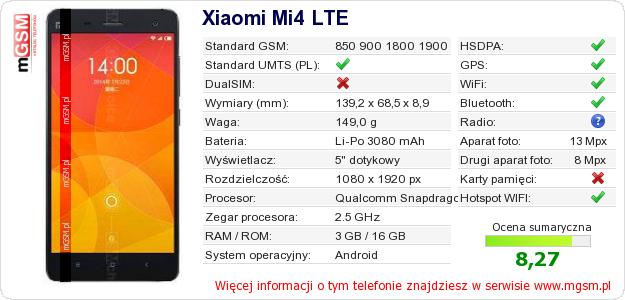 Dane telefonu Xiaomi Mi4 LTE