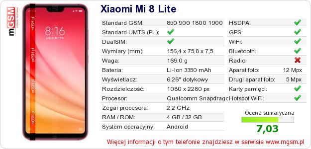 Dane telefonu Xiaomi Mi 8 Lite