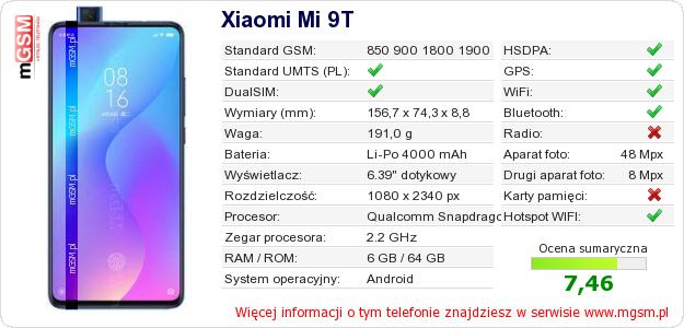 Dane telefonu Xiaomi Mi 9T