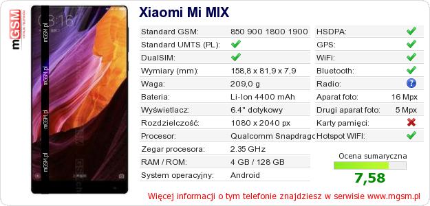 Dane telefonu na Twojej stronie Xiaomi Mi MIX :: mGSM.pl