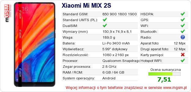 Dane telefonu Xiaomi Mi MIX 2S