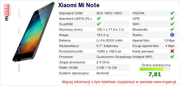 Dane telefonu Xiaomi Mi Note