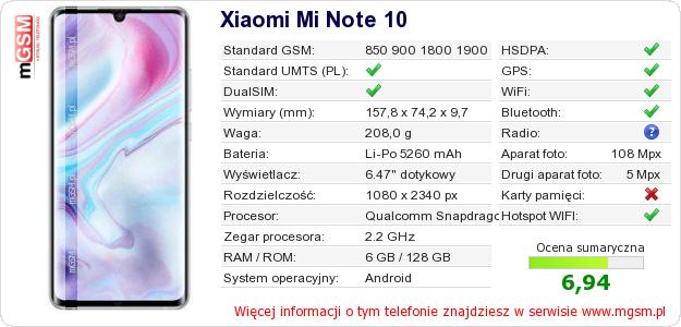 Dane telefonu Xiaomi Mi Note 10