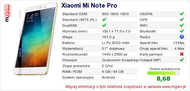 Dane telefonu Xiaomi Mi Note Pro