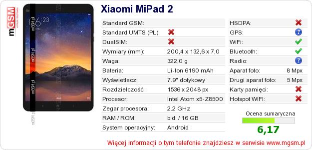 Dane telefonu Xiaomi MiPad 2