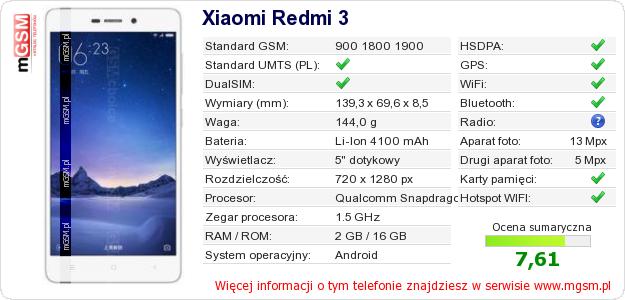 Dane telefonu Xiaomi Redmi 3