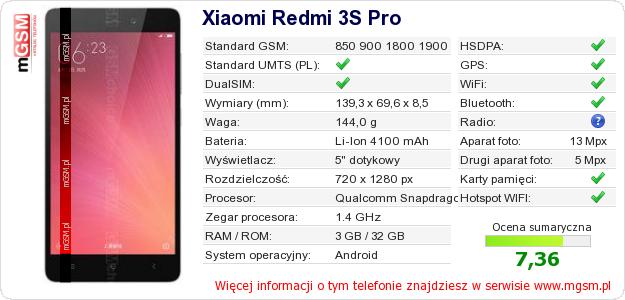 Dane telefonu Xiaomi Redmi 3S Pro