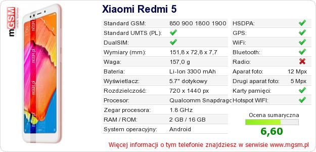 Dane telefonu Xiaomi Redmi 5