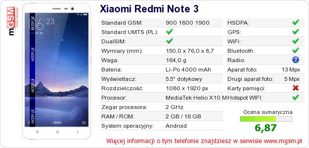 Dane telefonu Xiaomi Redmi Note 3