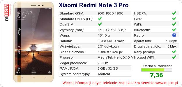 Dane telefonu Xiaomi Redmi Note 3 Pro