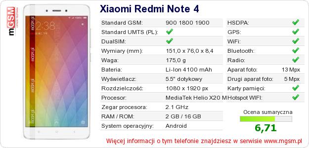 Dane telefonu Xiaomi Redmi Note 4