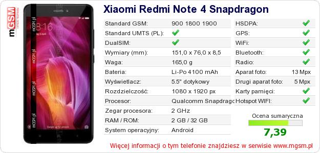 Dane telefonu Xiaomi Redmi Note 4 Snapdragon