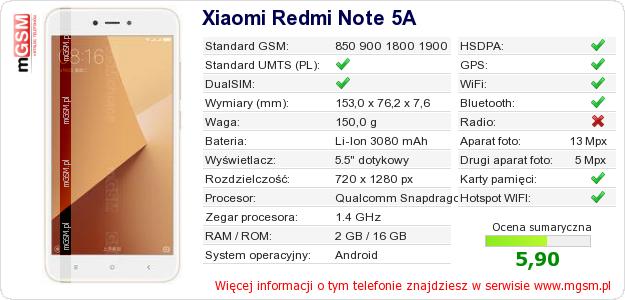 Dane telefonu Xiaomi Redmi Note 5A