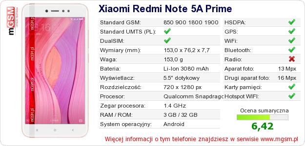 Dane telefonu Xiaomi Redmi Note 5A Prime