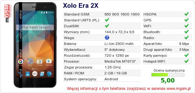 Dane telefonu Xolo Era 2X