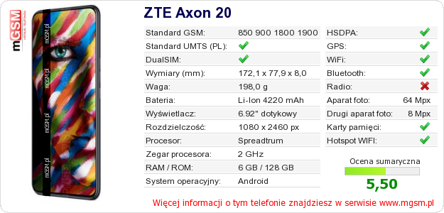 Dane telefonu ZTE Axon 20