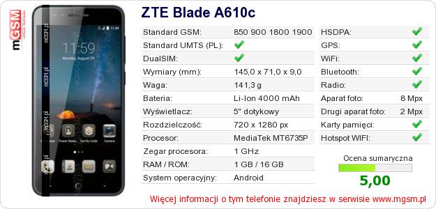 Dane telefonu ZTE Blade A610c