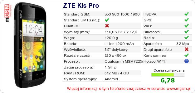 Dane telefonu ZTE Kis Pro