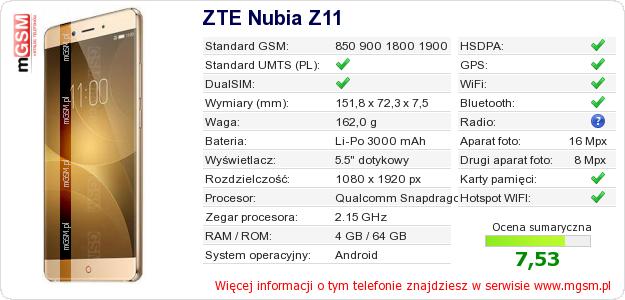 Dane telefonu ZTE Nubia Z11